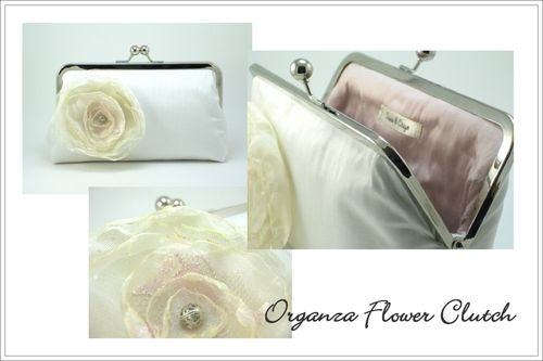 Davie and Chiyo Organza Flower Clutch
